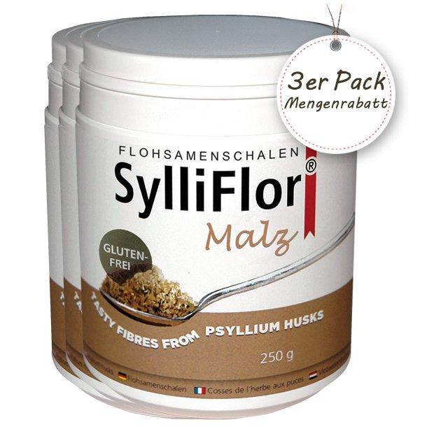 SylliFlor<sup>®</sup> Flohsamenschalen<br />Malz<br />3 x 250 g